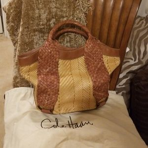 ColeHaan leather straw bag